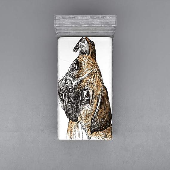 ABAKUHAUS Perro del Boxeador Sábana Elastizada, Incompleto Peludo Perrito del Animal doméstico, Suave Tela Decorativa Estampada Elástico en el Borde, 140 x 200 cm, Brown pálido Sello Brown: Amazon.es: Hogar