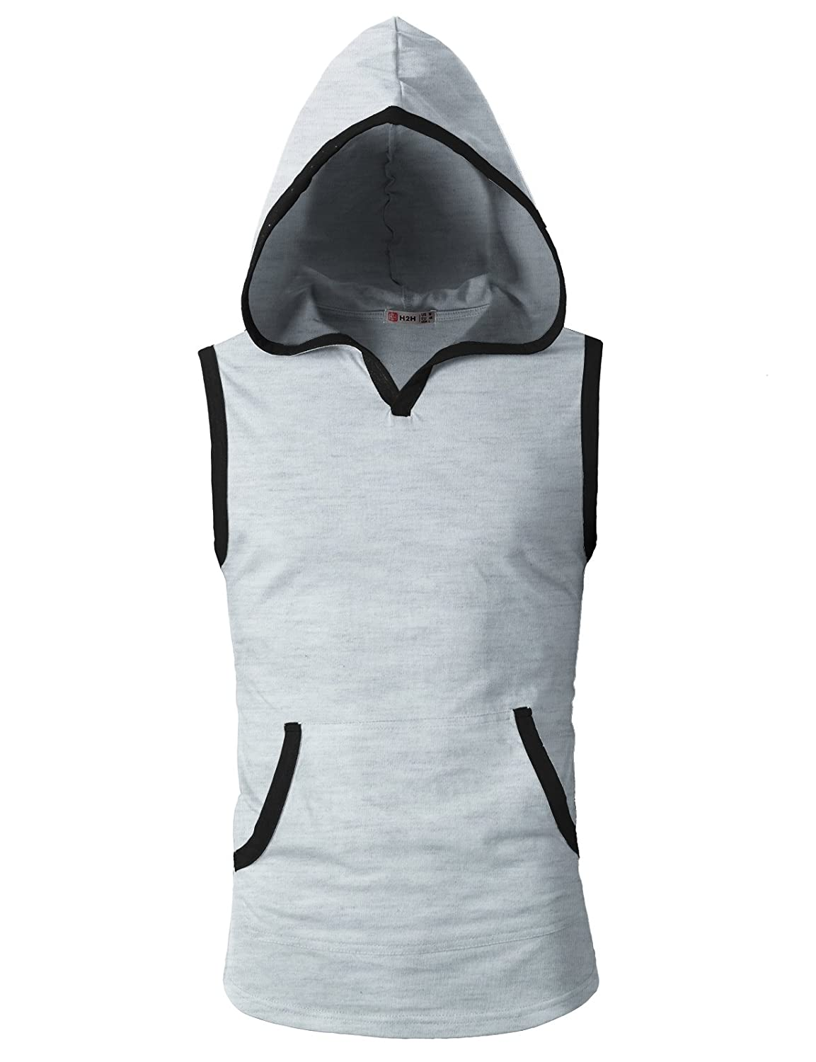 H2H Mens Casual Hoodie Tank Tops Sleeveless Shirts Gym Workout with Pockets