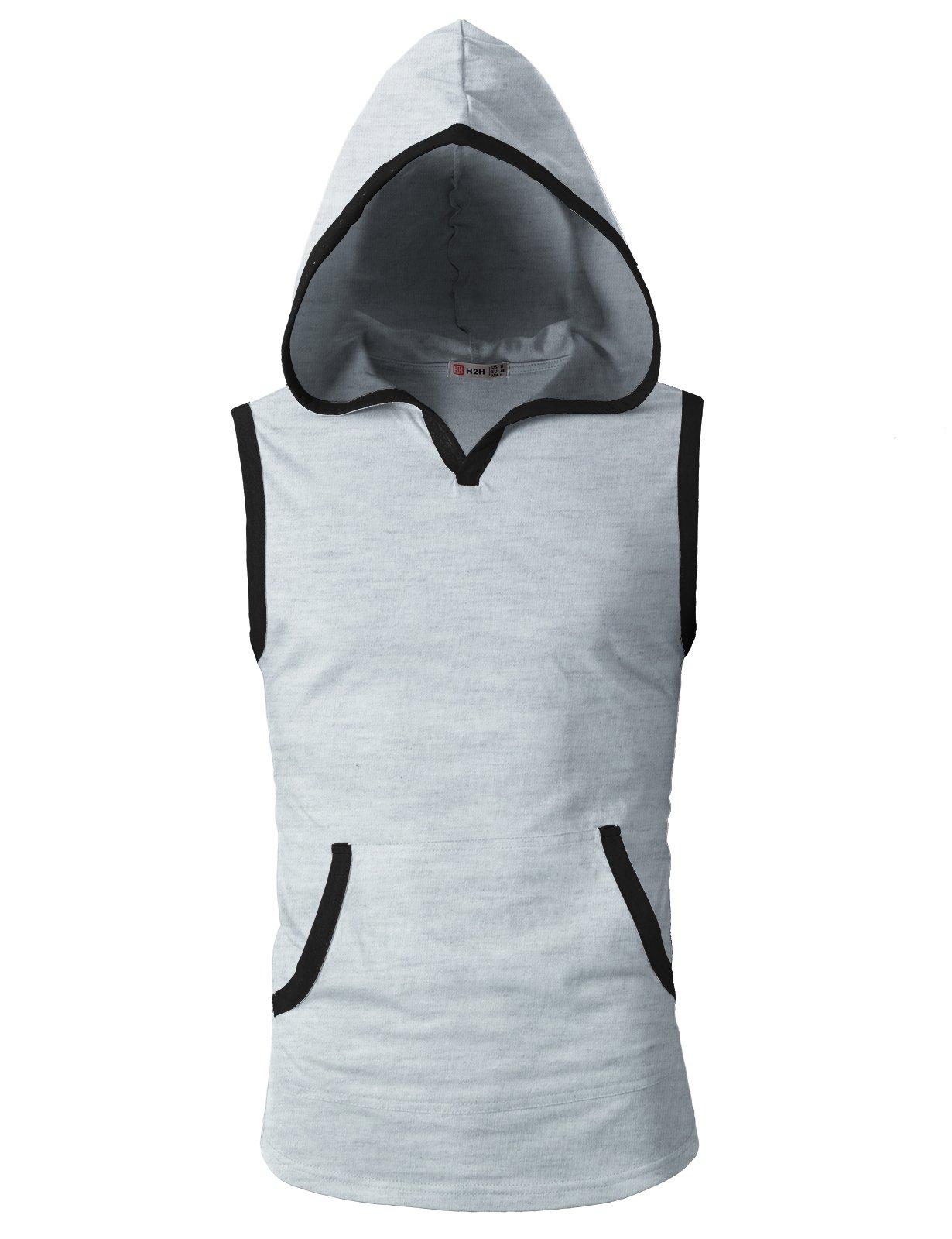 H2H Mens Sleeveless Hoodie T-Shirt Hooded Tank Top Cotton Hoodies Tee Heatherwhite US S/Asia M (CMTTK015)