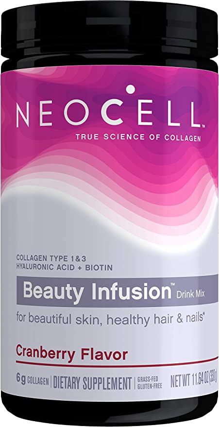 NeoCell Beauty Infusion Collagen Supplement Drink Mix Powder, 6,000mg Collagen Types 1 & 3, Cranberry Flavor, 11.64 Ounces (Package May Vary)
