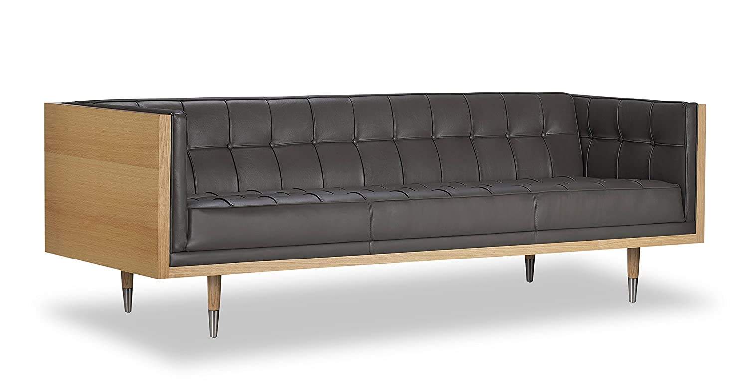 Kardiel Woodrow Midcentury Modern Box Sofa Grey Aniline Leather Ash