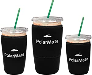 3 Pack Reusable Iced Coffee Sleeve | Insulator Cup Sleeve for Cold Drinks Beverages | Neoprene Cup Holder | Ideal for Starbucks, McDonalds, Dunkin Donuts & More (Black)