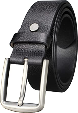 Handcrafted Classic Leather Belt for Men Stitched Black Jeans Belt Pin Buckle