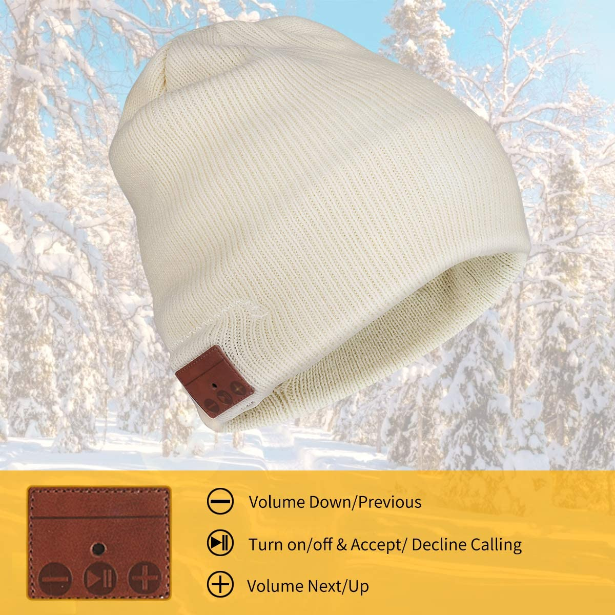 INTSUN Beany Hat with Wireless Stereo Headphones, 4.2 Bluetooth Knit Beanie Hats for Men Women Rechargeable Battery Hat Speaker Mic for Outdoor Sports Running Skiing Skating Hiking