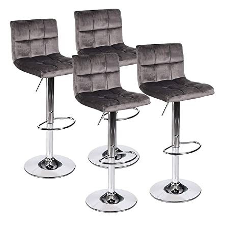 ELECWISH Barstool Velvet Fabric Tufted Cushion Foam Coffee Home Silver Chrome Foot Rest Counter Bar Height Adjustable Outdoor Indoor Gas Lift SGS Wine Drink Dining Dark Gery 4