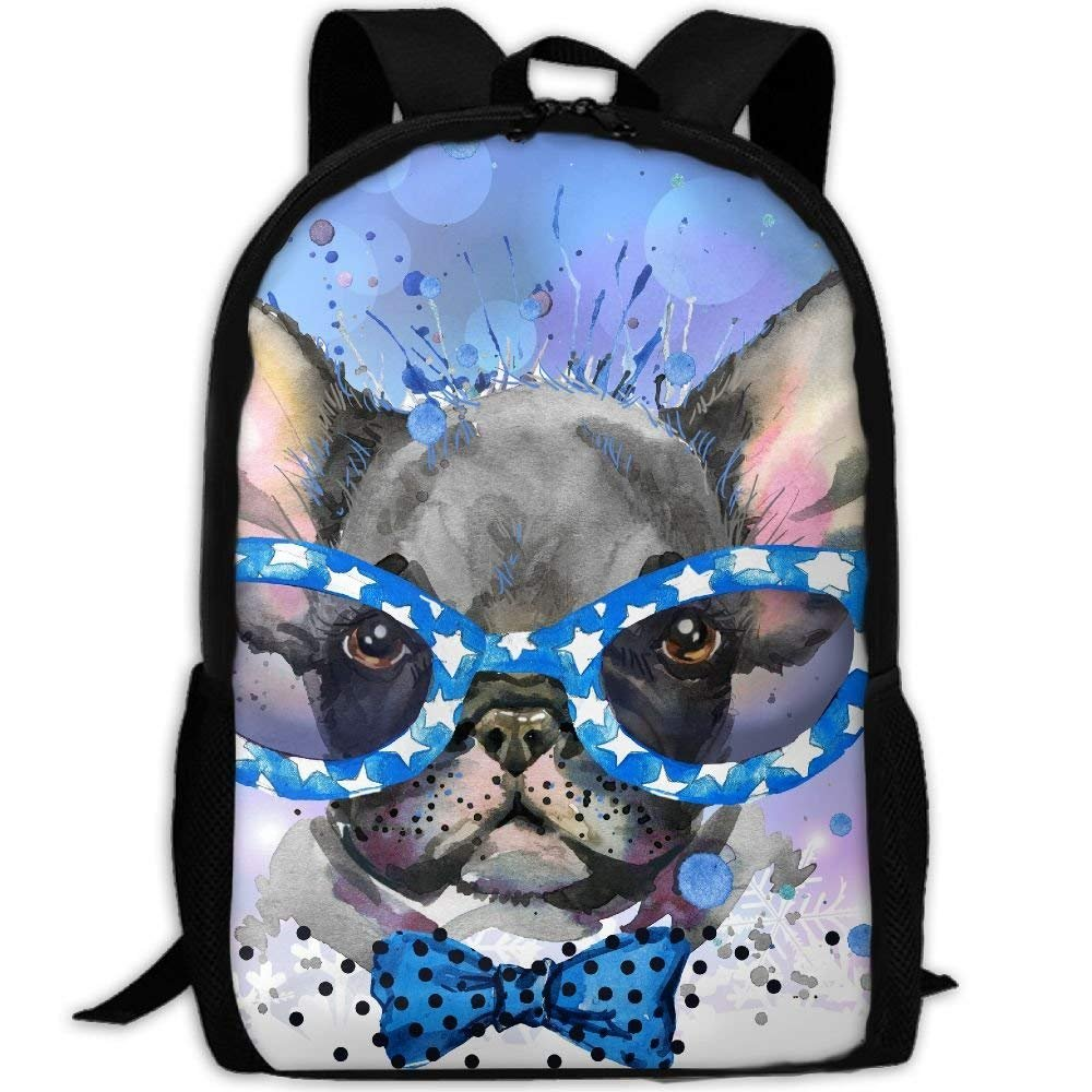 YIXKC Adult Backpack Watercolor Puppy With Blue Glasses Travel Daypack