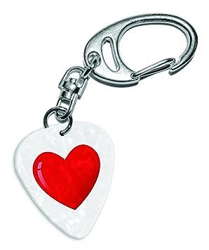 Púa de guitarra con corazón rojo, emoticono blanco perla ...