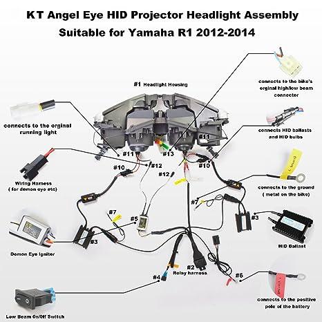 amazon com: kt led headlight assembly for yamaha r1 2012-2014 red demon  eye: automotive