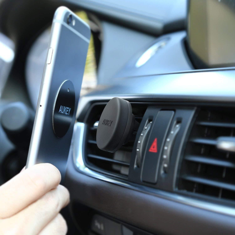 AUKEY Handyhalterung Auto Magnet ( 2 Stücke ) Lüftung KFZ Halterung Universal für iPhone 7/6s/6/5s/5, Samsung S8 und jedes Andere Smartphone Oder GPS - Schwarz