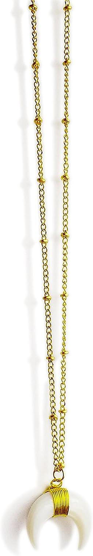 worthtryit Crescent Collares Colgante/marfil doble cuerno luna colgante collar