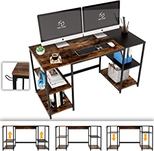 Nost & Host Computer Desk with Adjustable Storage Shelves & Headphone Holder, Industrial Large Spacious Home Office PC Laptop Writing Gaming Table with Bookshelves, 55.1 inches, Rustic Brown and Black