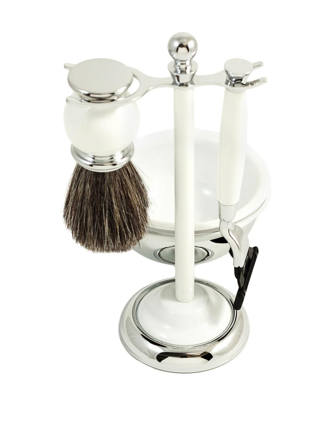 Four Piece Mach 3 Shave Set with Pure Badger Brush & Chrome Shavi... by Bey-Berk by Bey-Berk
