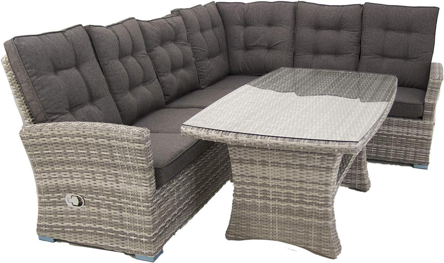 Edenjardi Conjunto sof/ás de Exterior esquinero con Mesa Centro Color Gris Aluminio y ratt/án sint/ético Esquinas reclinables 5 plazas