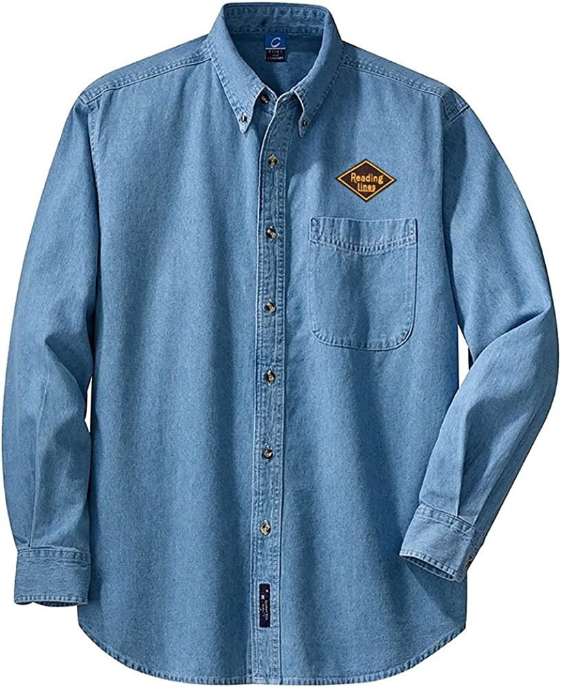 den40LS Reading Lines Railroad Long Sleeve Embroidered Denim