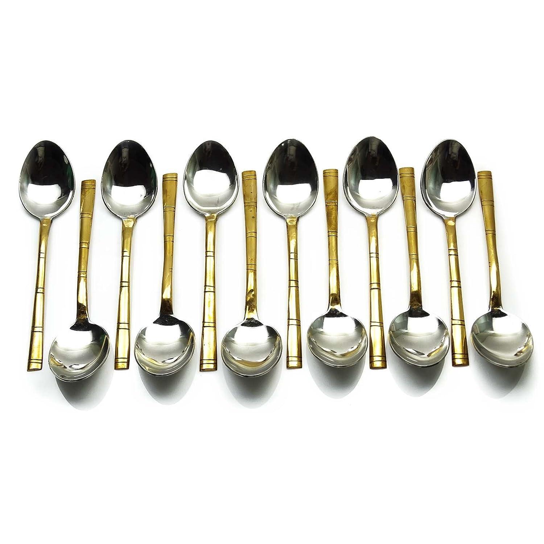 従来の設計デザートスプーン12個セットキッチン用品台所用具カトラリー B0146RGKEM  Copper & Silver