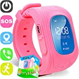 TURNMEON Smart Watch Phone for Kids Boys Girls GPS Children Fitness Tracker Smartwatch Birthday Prime Gifts with SIM Calls Anti-lost SOS Voice Chat Bracelet Wrist Watch for Android iOS APP Control (02 Light Pink)