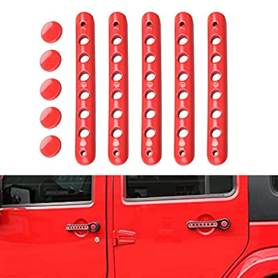 Grab Handle Inserts Cover+Push Button Knobs Cover Trim for 2007-2020 Jeep Wrangler JK & Unlimited: Automotive