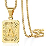Trendsmax Mens Womens Yellow Gold Plated Square Capital Letter Pendant Necklace Stainless Steel Box Chain 22inch
