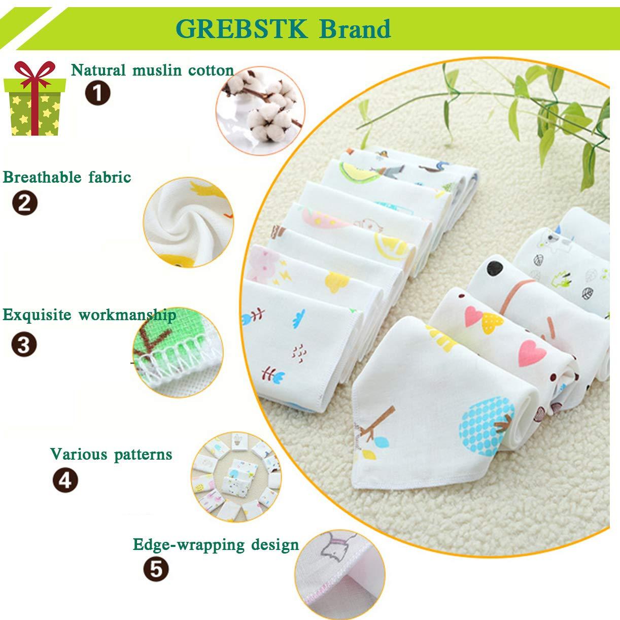 GREBSTK 10 PCS Baby Washcloths 4 Layers Natural Muslin Cotton 10x10 Inches Newborn Baby Face Towel