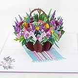 Flower 3d Card, Pop Up Flower Cards (Mixed Flower Basket Pop Up Card), Popup card for Mom, Popup card for Wife, Anniversary Pop Up Card, Pop Up Love Card, Pop Up Birthday Card