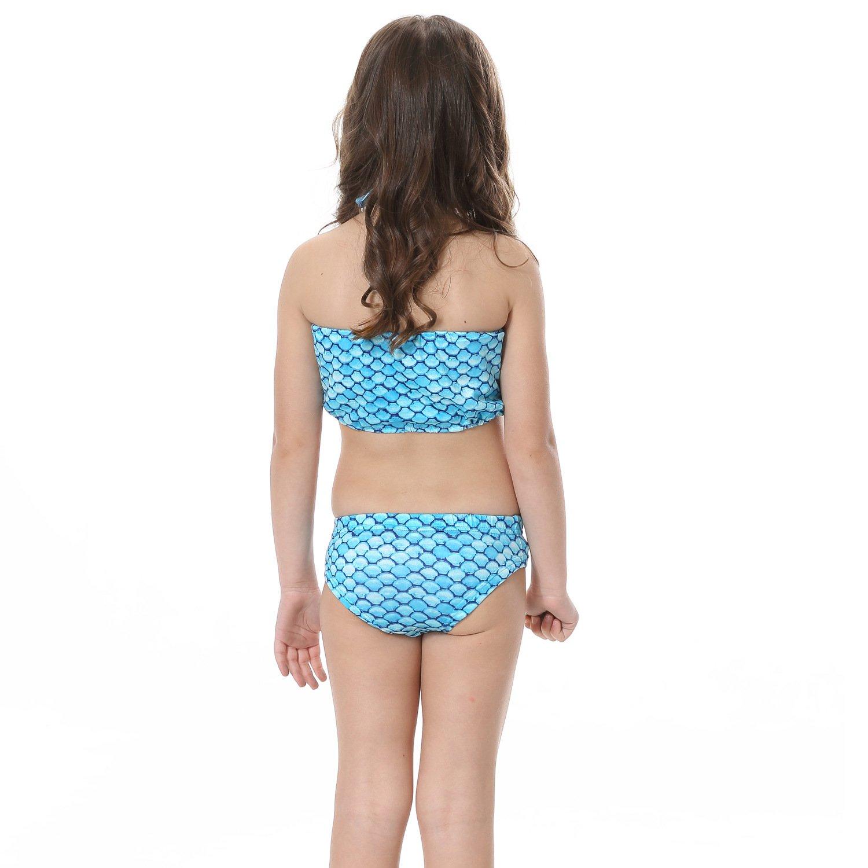 loenzo otiz Girls Mermaid swimwear and fins 4PC Blue B110