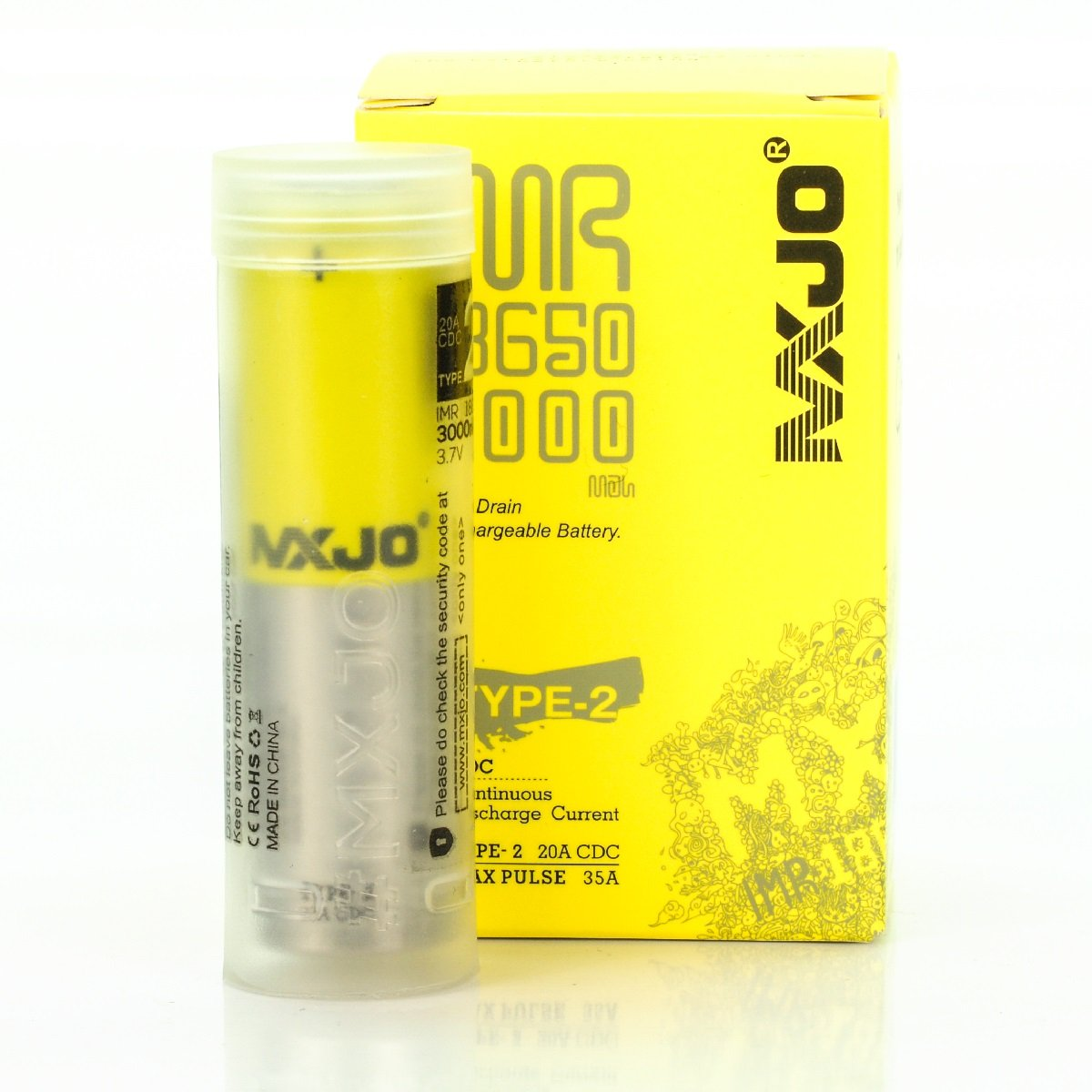 MXJO IMR 18650 3000MAH 35A 3.7V FT authentic original flat top high drain battery batteries by V Force MXJO 18650 3000 mAh 35A