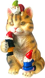 Solar Powered Cat Garden Gnome - Art Statue Figurine Mischievous and Whimsical for Outdoor and Indoor Funny Decor As A Yard Office or Home Gift (Grey)
