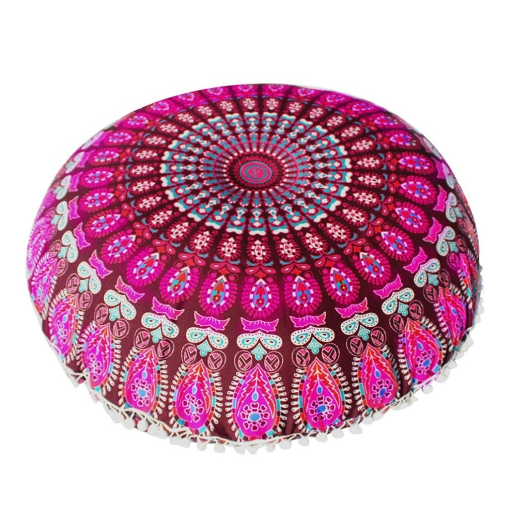 OCASHI Indian Large Mandala Floor Pillow Round Bohemian Meditation Cushion Cover Ottoman Pouf Cover Decorative Comfortable Home Car Bed Sofa 80CM X 80CM (32inch X 32inch, A)