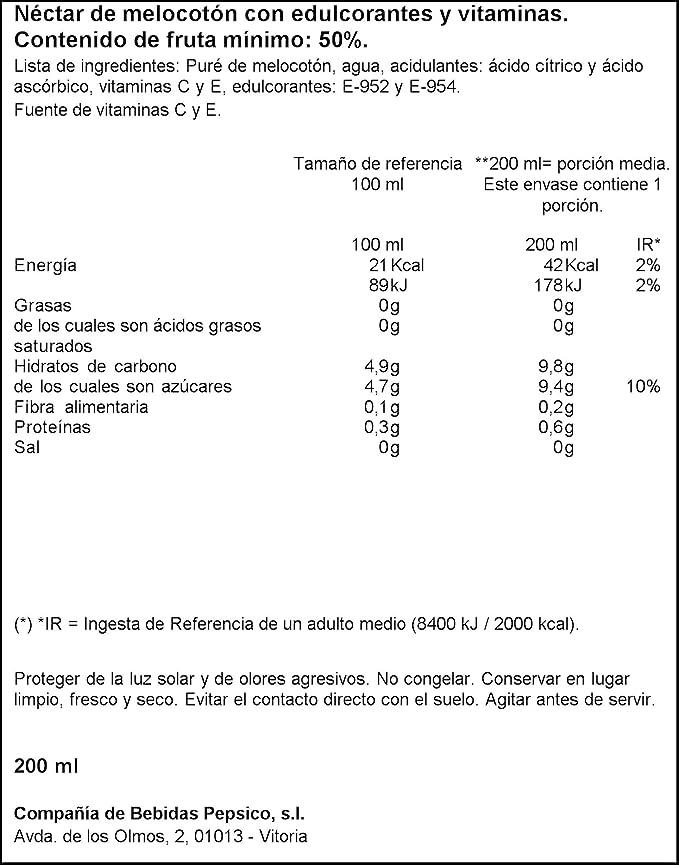 Kasfruit - Néctar de melocotón - Pack de 3-600 ml (3 x 200 ml): Amazon.es: Alimentación y bebidas