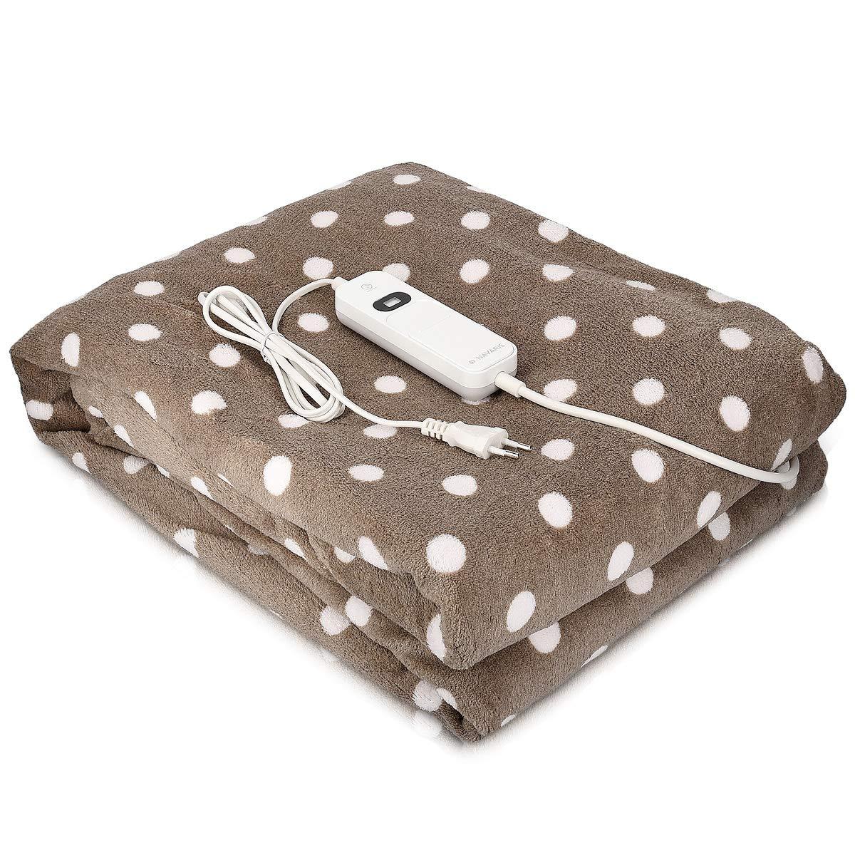 Navaris couverture chauffante électrique 180 x 130 cm - Plaid doux canapé lit - Arrêt automatique - Lavable en machine - Marron foncé KW-Commerce 45274.03.01_m001284