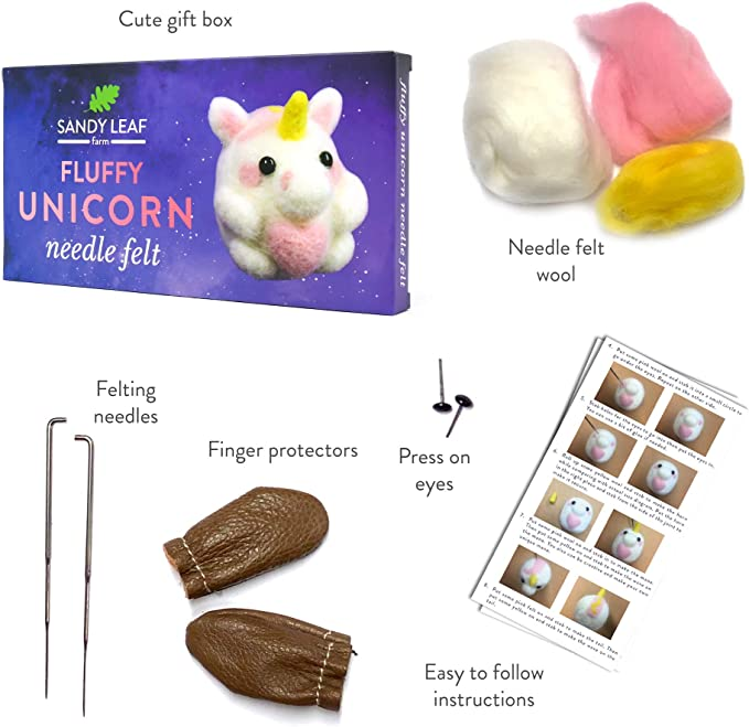 Fluffy Unicorn Needle Felt Kit Perfect for Beginners Includes Everything You Need to Make Your Own Fluffy Unicorn