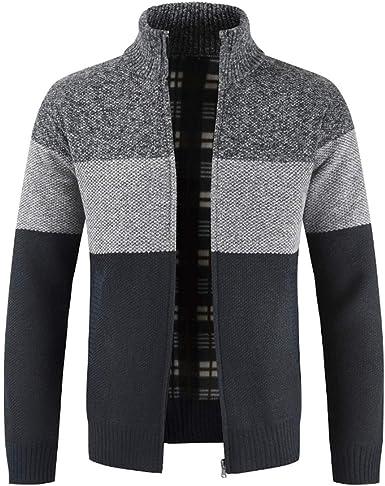 Cárdigan de punto para hombre, con cremallera frontal, manga larga, jersey.