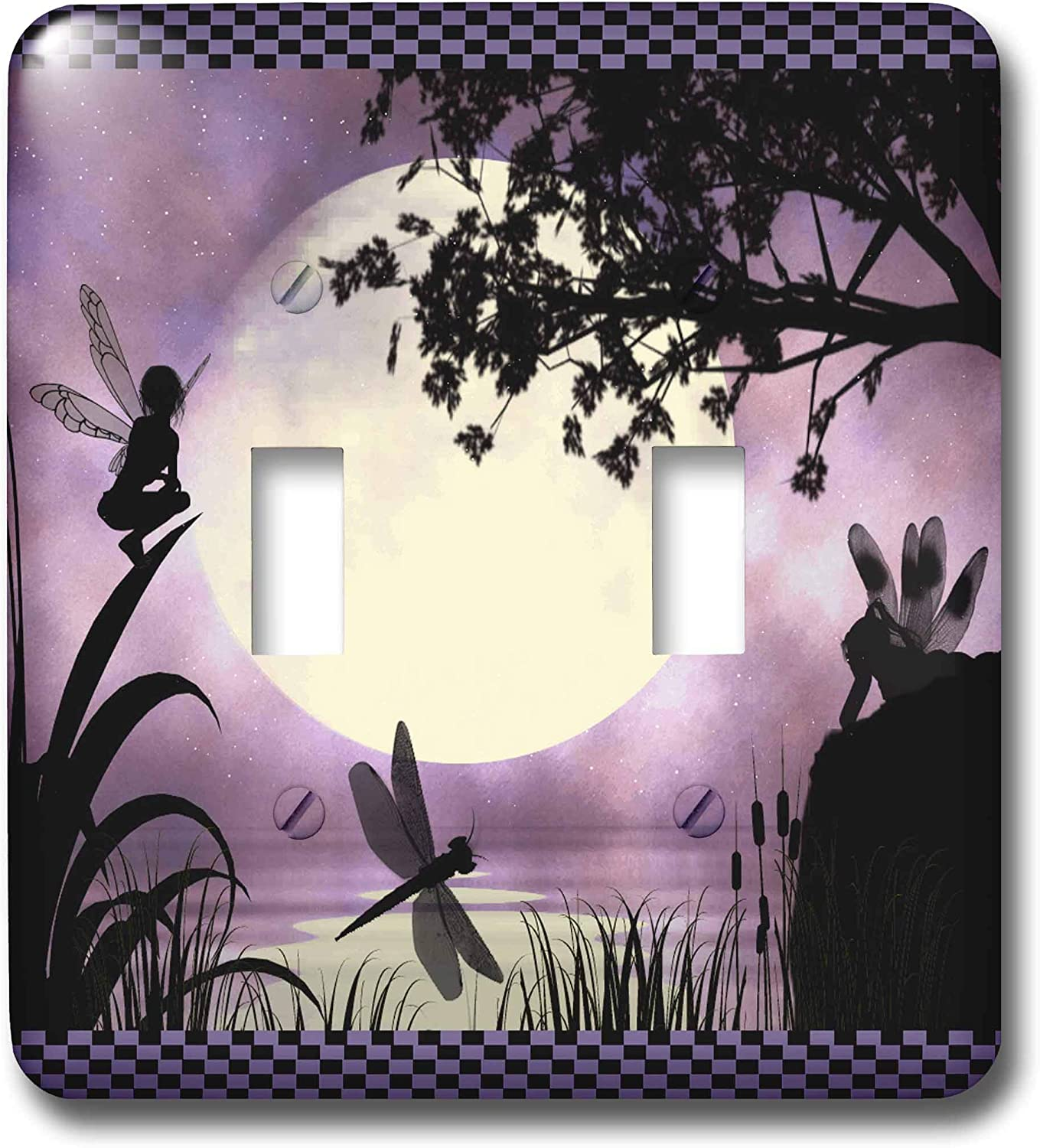 3dRose lsp_35668_2 Fairies And Dragonflies With An Purple Moon Double Toggle Switch