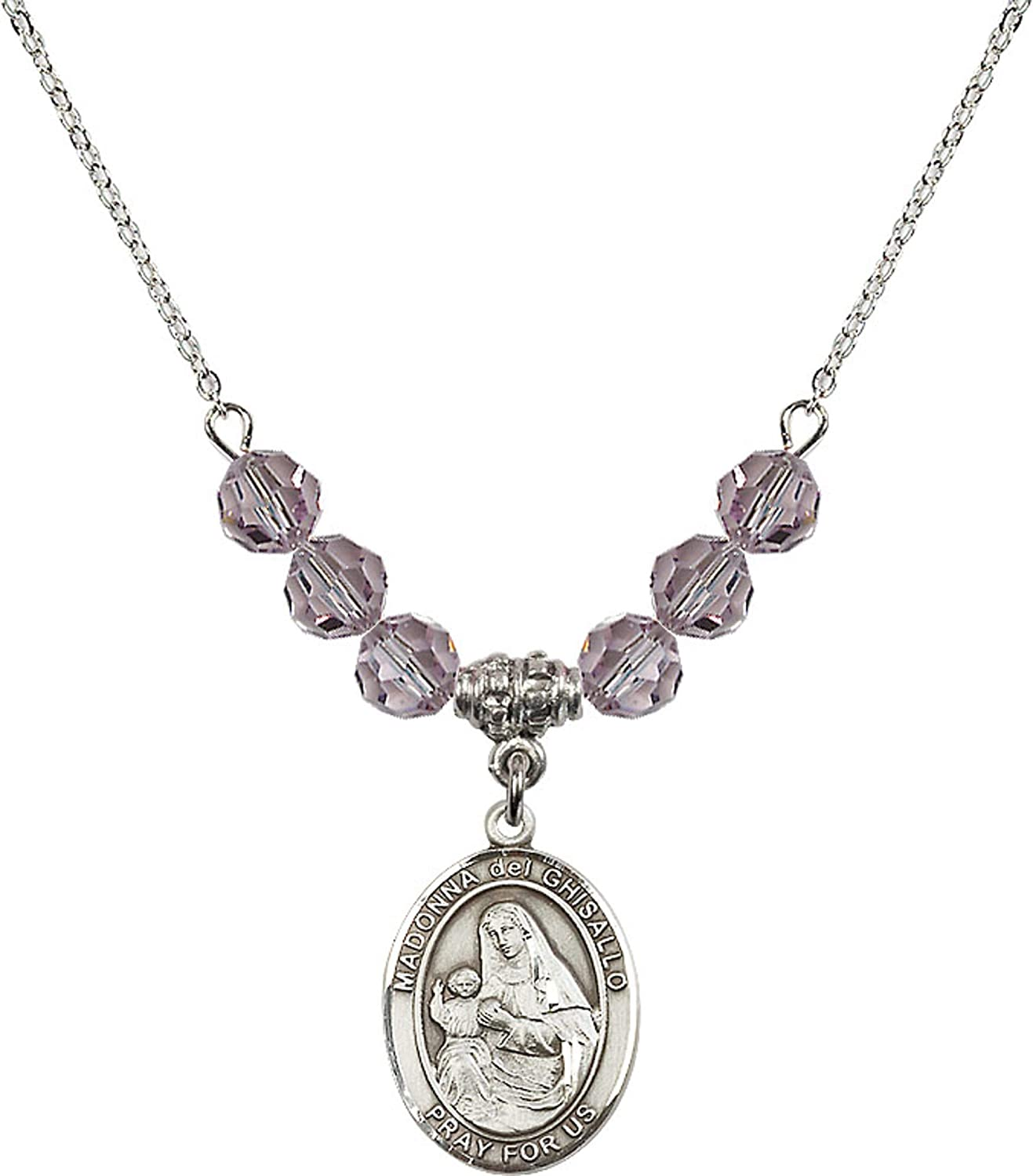 Bonyak Jewelry 18 Inch Rhodium Plated Necklace w// 6mm Light Purple February Birth Month Stone Beads and Madonna del Ghisallo Charm