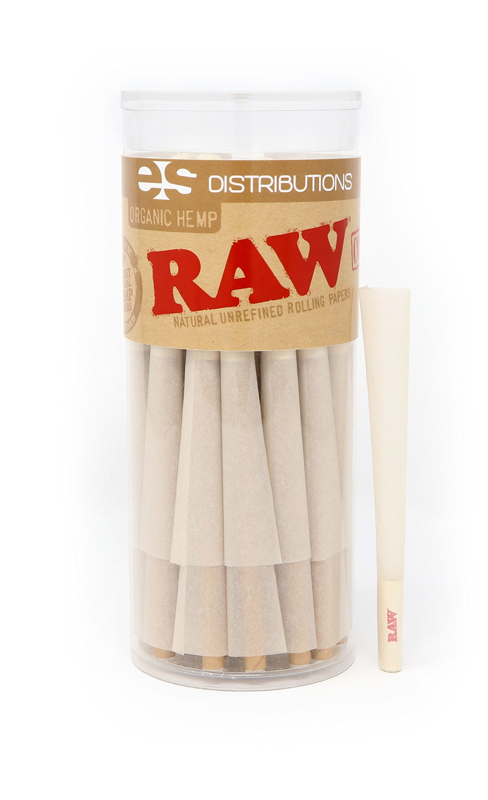 RAW Organic King Size Pre-Rolled Cones With Filter Tips (50 Pack)