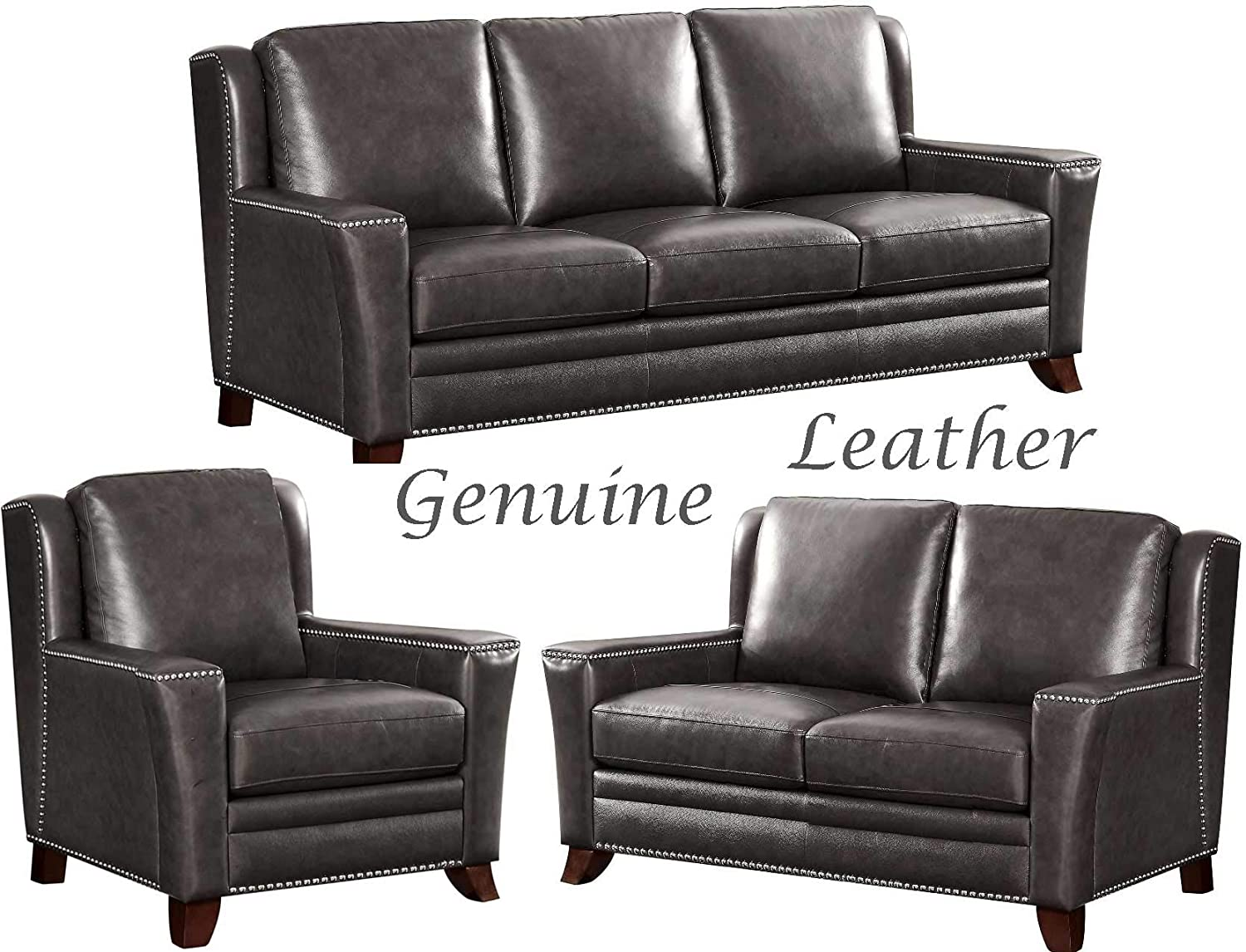 Amazon.com: Greystone 3 Piece Traditional Genuine Leather ...