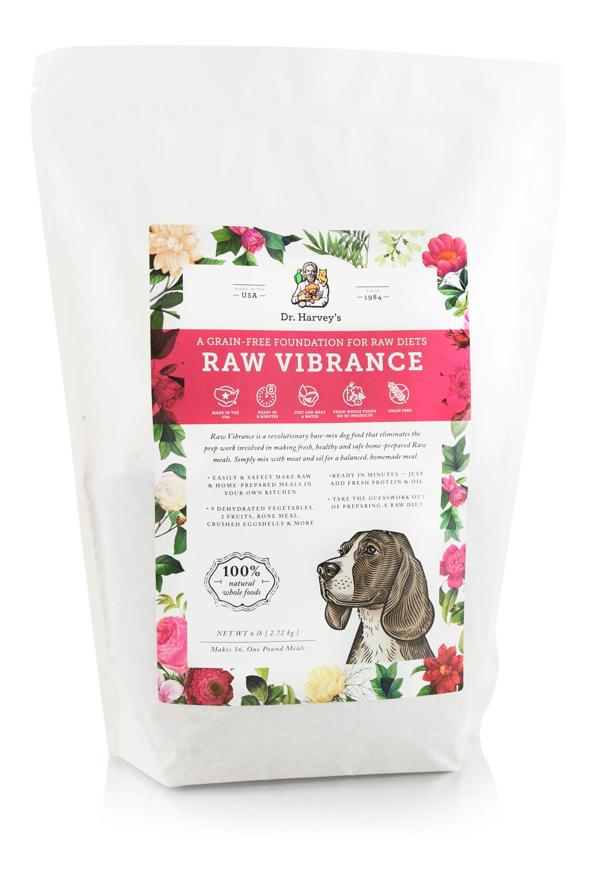 Dr. Harvey's Raw Vibrance Grain Free Dehydrated Foundation for Raw Diet Dog Food (6 Pounds)
