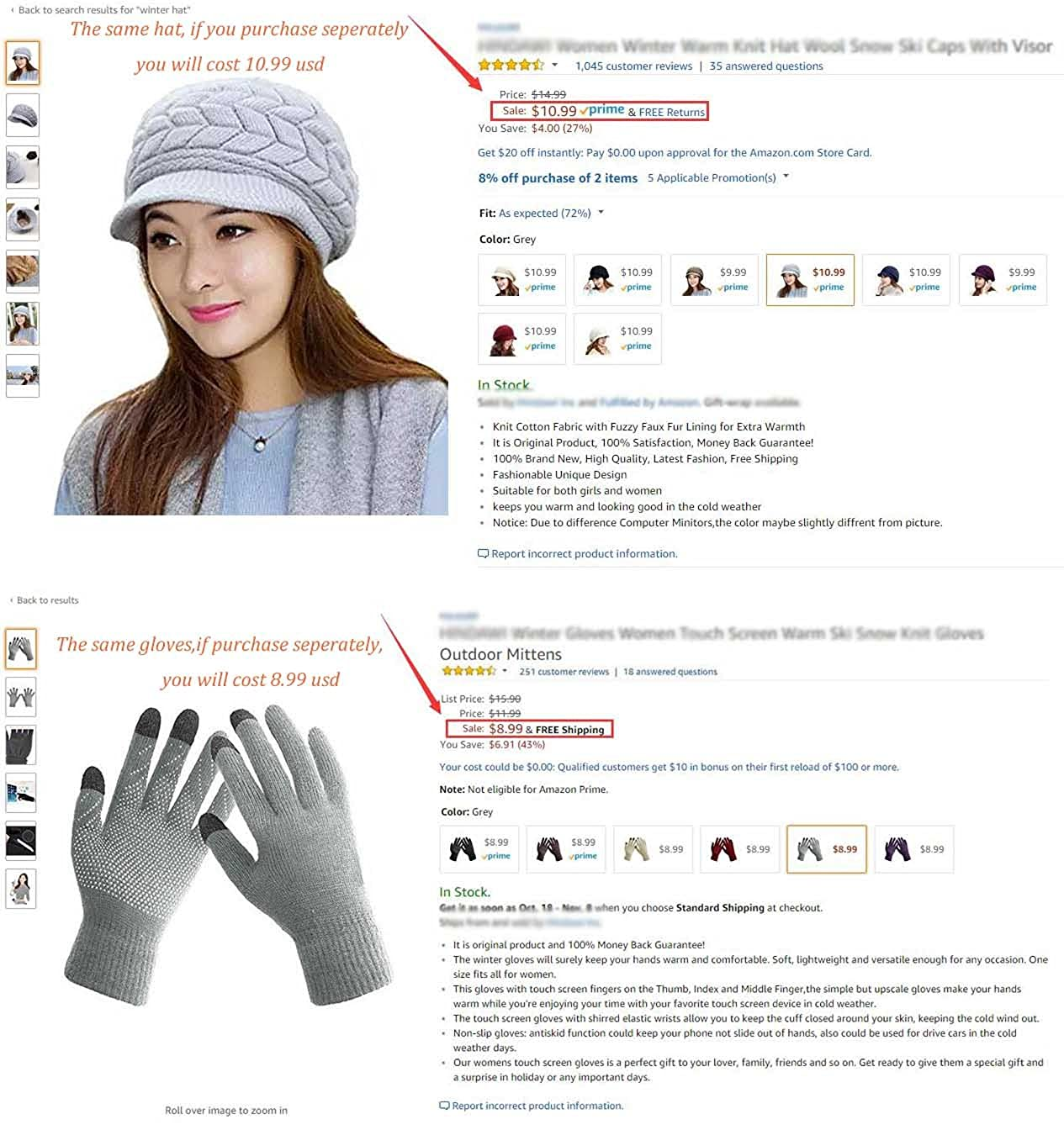 HINDAWI Winter Hats Gloves for Women Knit Warm Snow Ski Outdoor Caps Touch Screen Mittens