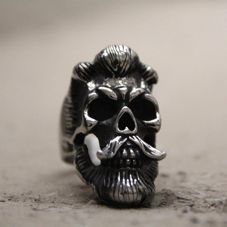 Ring Men Handmade 316L Stainless Steel - Cool Men's Bearded Mustache Gentleman Skull Rings - Unique Special Jewelry Gift For Men