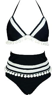 3abbd455c53 COCOSHIP Women s Mesh Striped High Waist Bikini Set Tassel Trim Top Halter  Straps Swimsuit(FBA