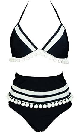 de2ec05a78 COCOSHIP Black & White Mesh Striped High Waist Bikini Set Pom Pom Tassel  Trim Top Halter