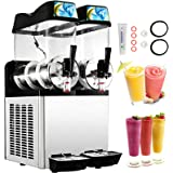 Happybuy 110V Commercial Slushy Machine 1600W 12L x 2 Tank Stainless Steel Margarita Smoothie Frozen Drink Maker Perfect for