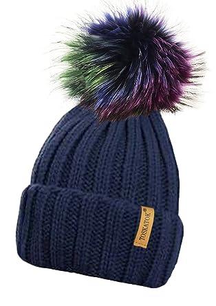 6393daa1f5 TOSKATOK® Dames Chunky Doux côtelé Bonnet avec détachables Extra Large  Multicolore Fur Pom Pom: Amazon.fr: Vêtements et accessoires