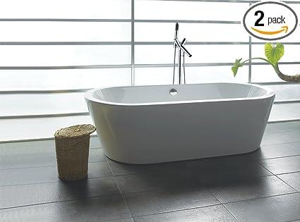 AKDY F224+8711 Bathroom Combo, White Color Acrylic Freestanding Bathtub  AZ F224 With