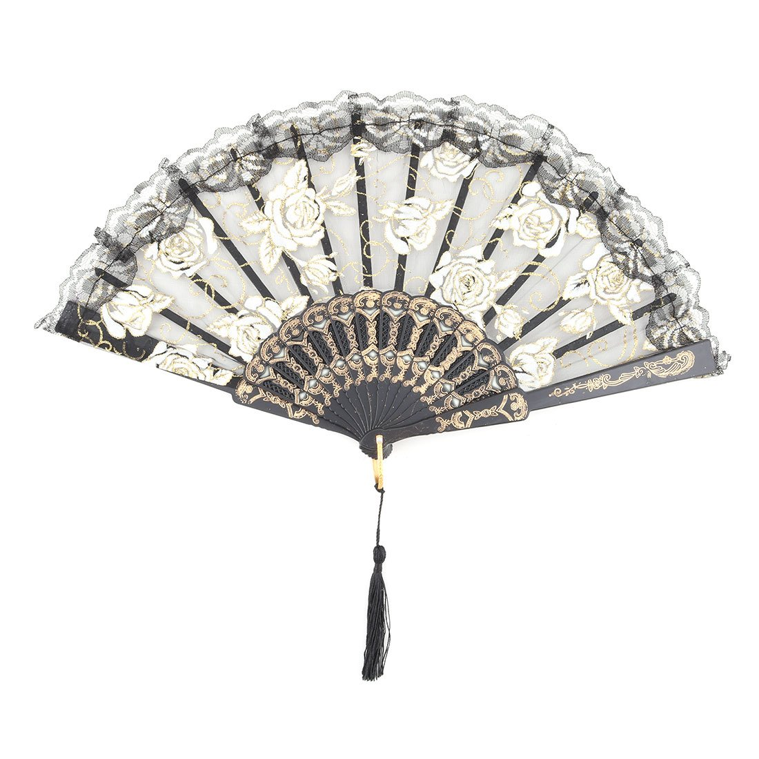 uxcell Plastic Flower Printed Family Tassel Decor Vintage Style Hand Fan 24cm Length US-SA-AJD-304665