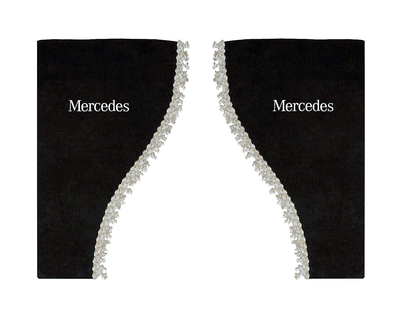 Set di 2 tende laterali in raso con nappe bianche AutoCommerse per camion Actros Atego Axor Arocs serie camion HGV colore: nero