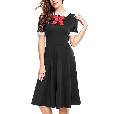 ACEVOG Women's Short Sleeve Vintage A Line Peter Pan Collar Swing Pleated Dress
