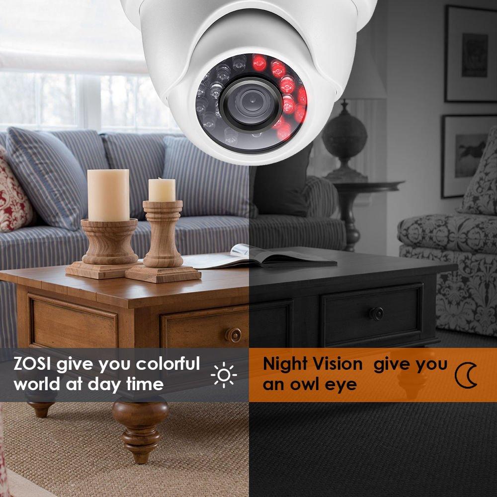 Acceso Remoto ZOSI Sistema de Vigilancia 720P CCTV Kit de C/ámaras Seguridad 8CH Videograbador DVR + Visi/ón Nocturna 4 C/ámara Exterior//Interior 1TB Disco Duro