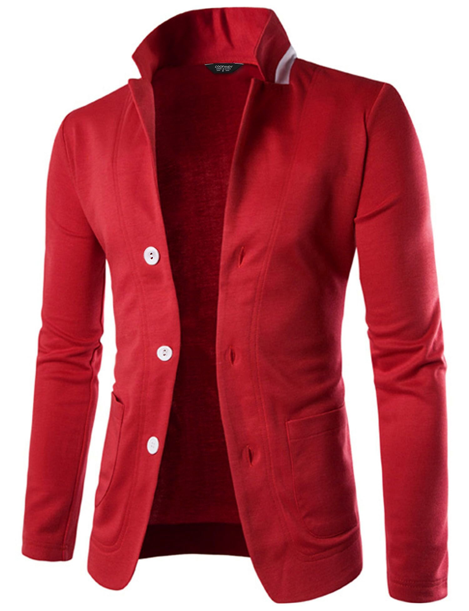 Coofandy Mens Casual Slim Fit Blazer 3 Button Suit Sport Coat Lightweight Jacket,Red,Medium