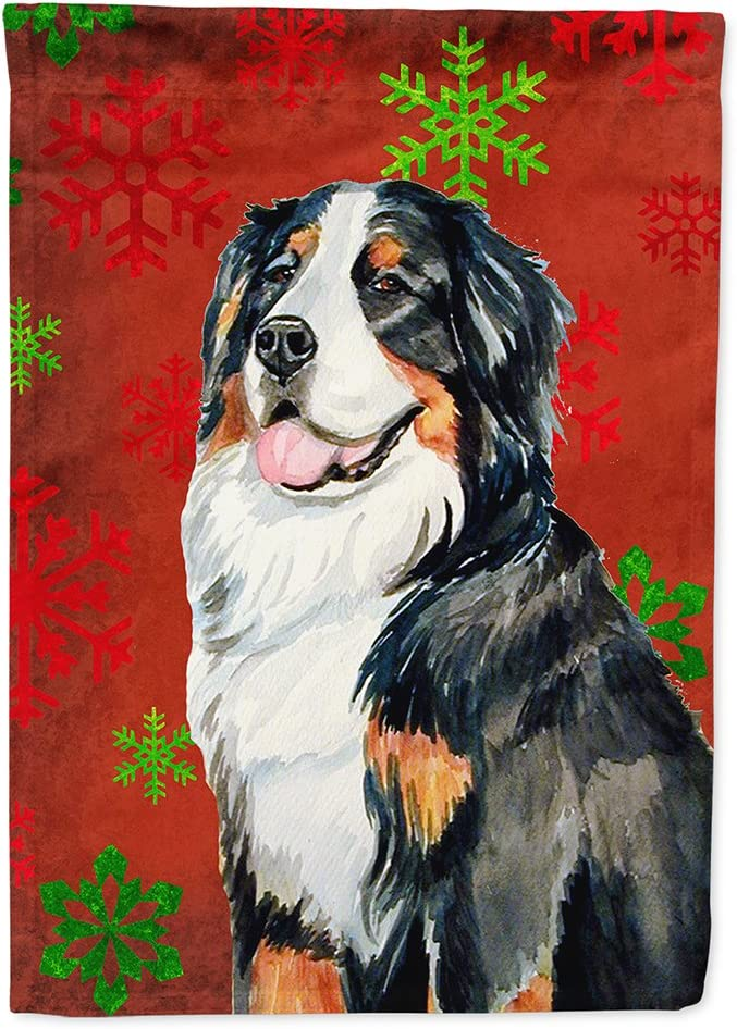 Caroline's Treasures LH9334GF Bernese Mountain Dog Red Green Snowflakes Holiday Christmas Flag Garden Size, Small, Multicolor